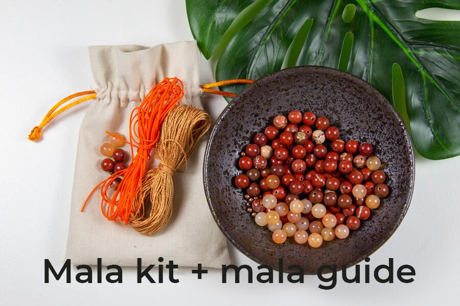 Rød Jaspis mala kit med mala guide
