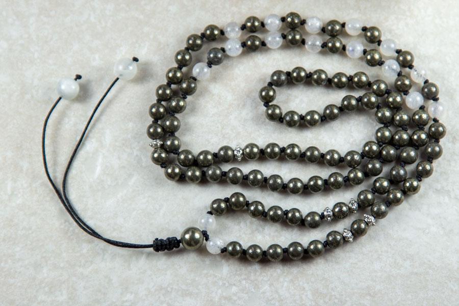 Mala med pyrit - kan bruges som mala armbånd